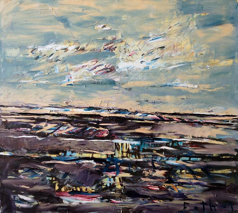 Landschaften, Öl auf Leinwand, Detlev Foth, Landschaftsmaler, Düsseldorf, Künstler in Düsseldorf, Art Düsseldorf, Zeitgenössische Kunst, Ölmalerei, Horizonte, aufbrechende Wolken