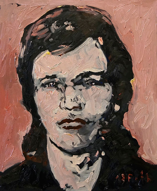 Detlev Foth, Porträtmaler in Düsseldorf, Porträtmalerei, Selbstporträt, Öl auf Leinwand, Portrait, junger Mann, german artist, Künstler in Düsseldorf