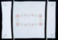 Textilcollage, Ioana Luca, Anneliese, 100 Jahre Kaffeetrinken, Großformate, Leinwand, Collage