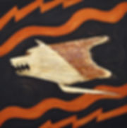 ioana luca, ölbild auf holz, wolf, gold, daker, kriegssymbol