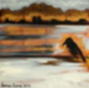 Ioana Luca, Ölbild, Krähe, Gold