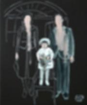 Ioana Luca, Malerei, kleine Familie, Kind, Öl auf Leinwand, Rumänische Künstler, Romanian Art, Kunst in Düsseldorf