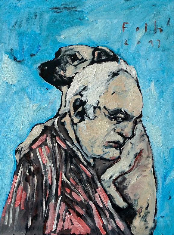 Detlev Foth, Selbstporträt mit Hund, Gemälde, Ölbild, Mann mit Hund, Künstler in Düsseldorf