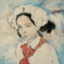 Detlev Foth, Porträtmaler Düsseldorf, Kinderporträts, Ioana Luca, Pionier Rumänien, Öl auf Leinwand, Porträtauftrag Düsseldorf, Ölbild, Gemälde