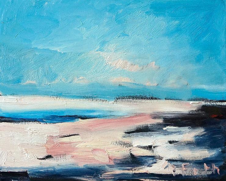 Horizonte, Landschaften, Detlev Foth, Ölmalerei, Hoek van Holland, Strand, Meer, Wolken, Künstler in Düsseldorf, Maler, Kleinformatige Bilder