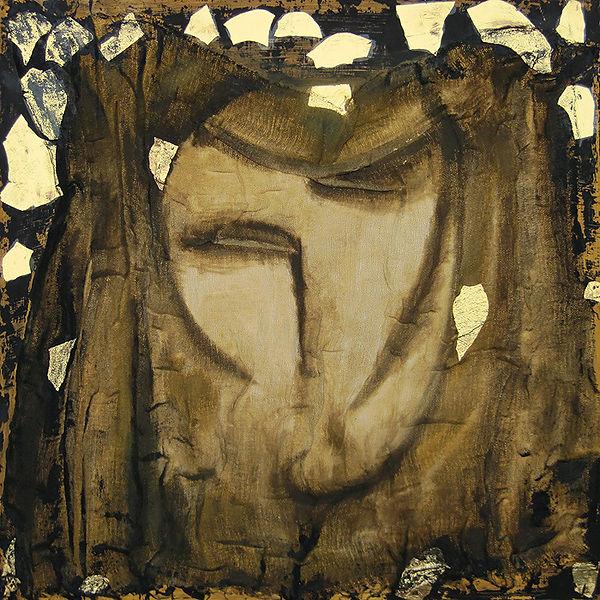 ioana luca, ölbild auf holz, schwarz, gold, gesicht, abstrakt, ikone