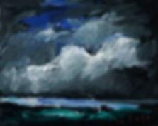 Detlev Foth, Horizonte, Rheinlandschaft, Nachtbild, Rhein, Nacht, Landschaften, Öl, Leinwand, Kleinformatige Bilder, Ölmalerei, Künstler in Düsseldorf