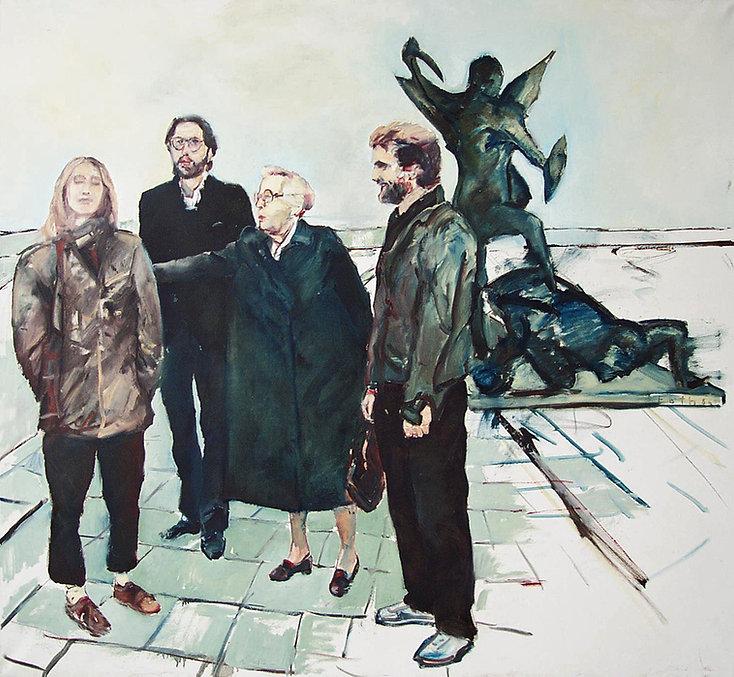 Detlev Foth, Figurenbild, Ölbild, Kunst, Düsseldorf, Mann, Schirm