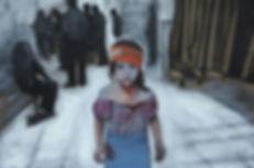 ioana luca, künstlerin, düsseldorf, war, child, wounded, krieg, blut, krankenhaus, bombenangriff, kind, mädchen, gemälde, öl auf leinwand, ölbild, flüchtlingskind