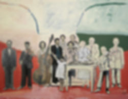 Ioana Luca, Malerei, Menschengruppe mit Musikanten, Rumänien 1939, Faschismus in Rumänien, Kind, Familie, Kunst, Düsseldorf