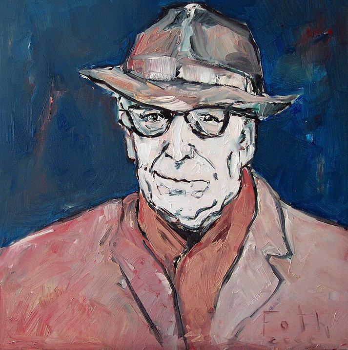 Porträtmaler Düsseldorf, Detlev Foth, Georges Simenon Portrait, Schriftstellerporträts, Porträtauftrag Düsseldorf, Ölbild, Gemälde