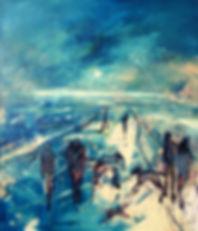 Detlev Foth, Figurenbild, Ölbild, Kunst, Düsseldorf, Strand, Menschen, Hunde, Spaziergänger