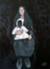 Ioana Luca, Figurative Malerei, Frau mit Kind, Madonna mit schwarzem Kind, Rumänische Künstlerin, Rumänien