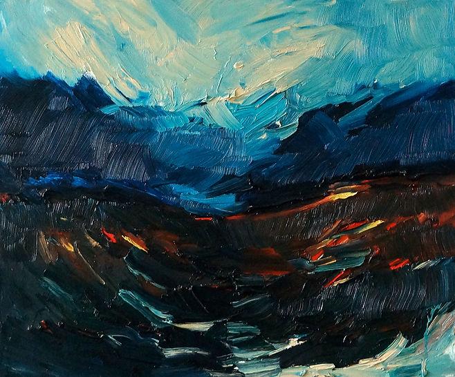 Landschaften, Öl auf Leinwand, Detlev Foth, Landschaftsmaler, Düsseldorf, Künstler in Düsseldorf, Art Düsseldorf, Zeitgenössische Kunst, Ölmalerei, Kleines Tal, Dämmerung