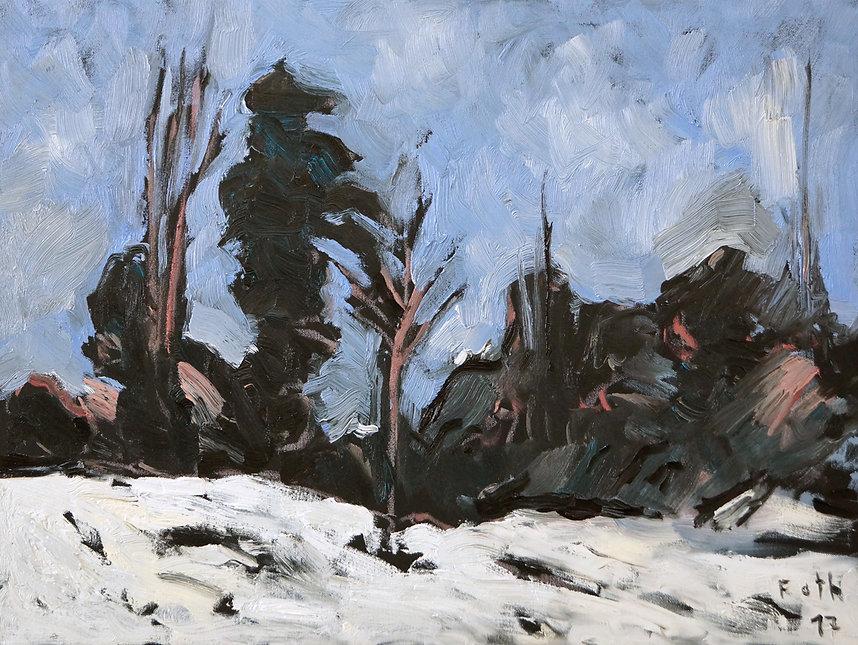 Detlev Foth, Landschaften, Schneelandschaft, Wald, Öl auf Leinwand
