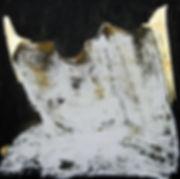 minotaurus, ioana luca, ölbild auf holz, gold