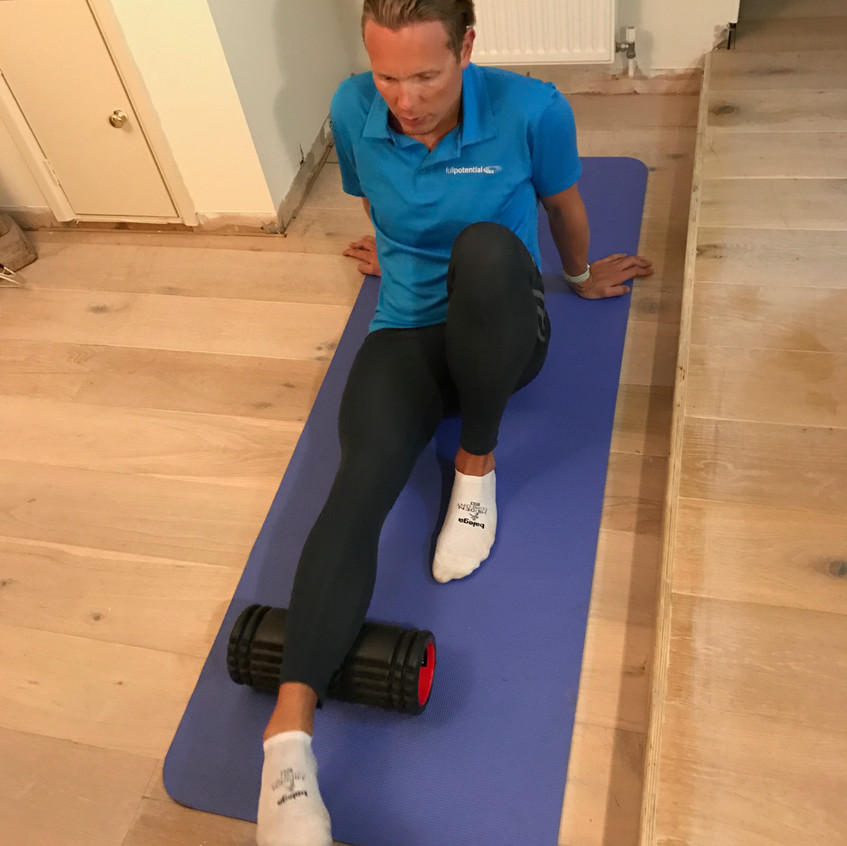 Single Leg Foam Rolling. You can be more focused on the leg and put a bit more pressure on the calf muscle.