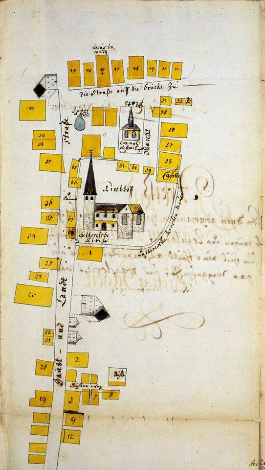 Brandplan des Fleckens Hagen von 1724 mi