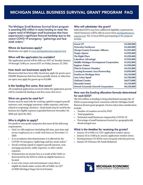 1 Michigan Small Business Survival Grant