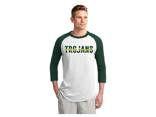 TROJANS White/Forest Green Raglan