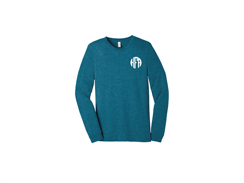 Left Chest Monogram Long Sleeve Bella Canvas Tee