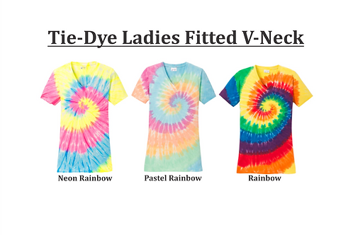 Tie-Dye Ladies Fitted V-Neck (plain)