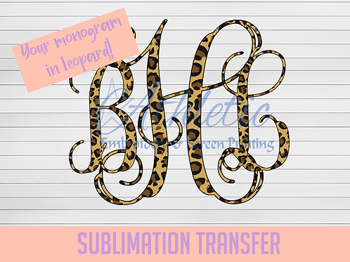 Leopard Vine Monogram Sublimation Transfer