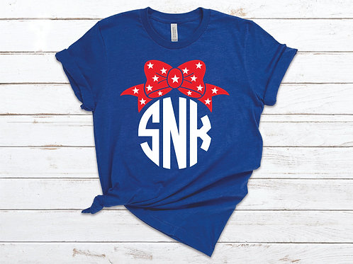 Fourth of July Themed Monogram Tee