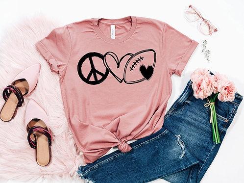Peace Love Football Tee