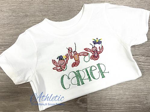 Mardi Gras Crawfish Embroidery Design