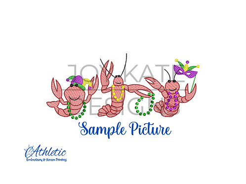 Mardi Gras Crawfish Embroidery Design