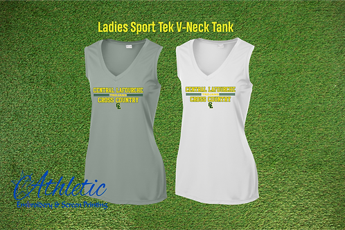 Ladies V-Neck Polyester Tank Cross Country