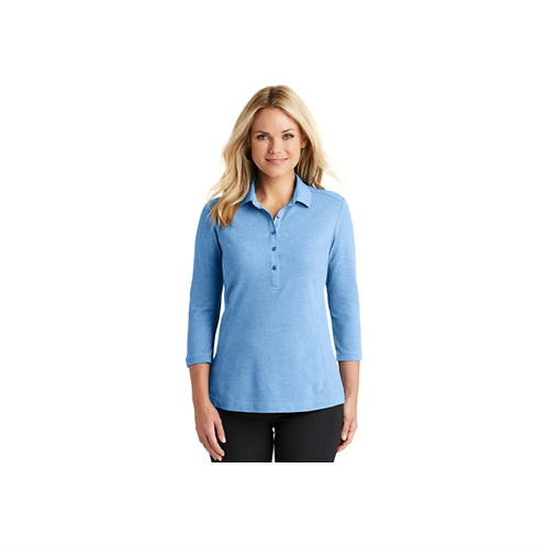 Ladies Coastal Cotton Blend 3/4 Sleeve Polo