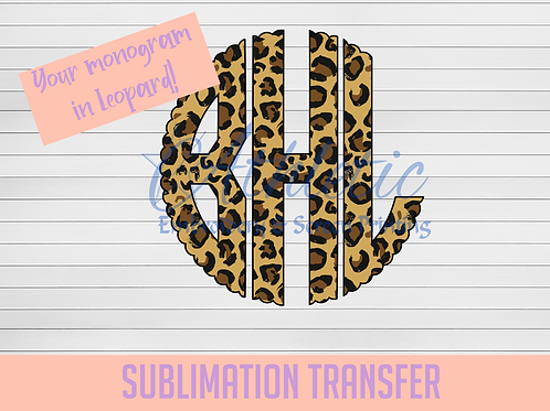 Leopard Scalloped Circle Monogram Sublimation Transfer