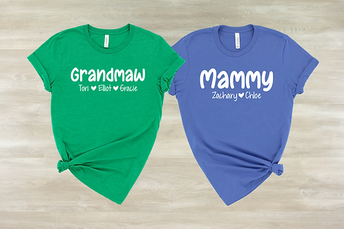 Custom Grandma Names Tee