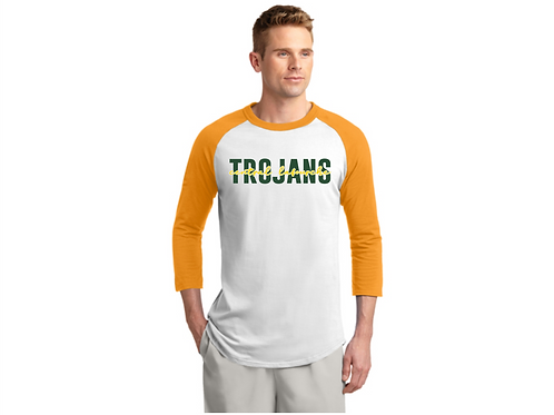 TROJANS White/Gold Raglan