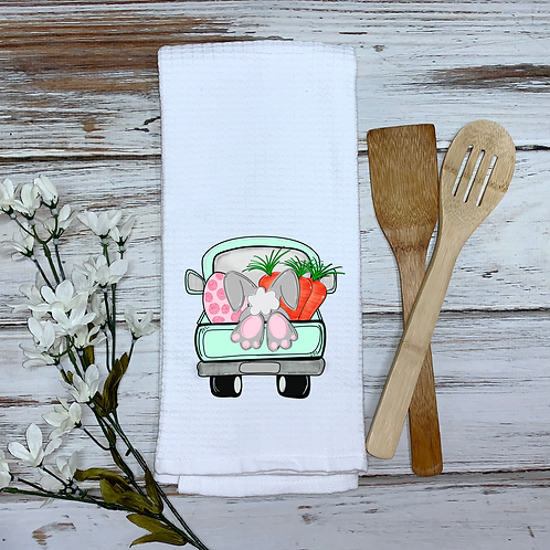 Easter Bunny Truck Kitchen Towel