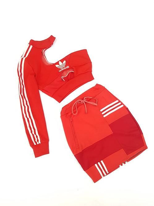 Reworked Red Adidas Patch work 2 piece