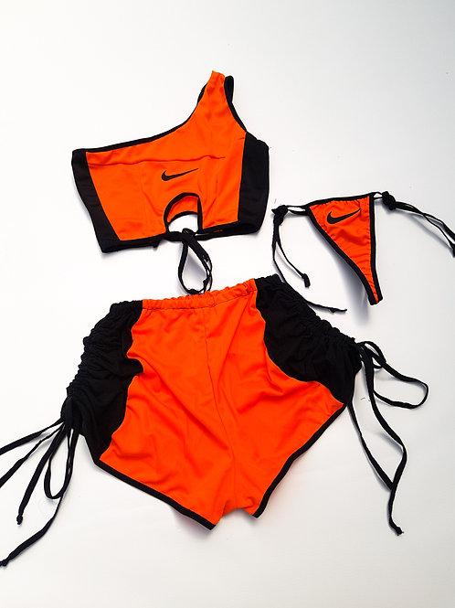 Reworked Swimsuit 3 piece set with bonus beach shorts