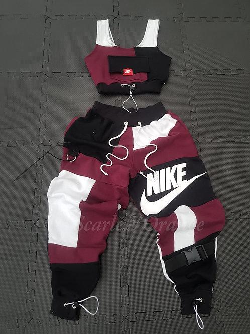 Reworked Nike  Maroon Jogger set