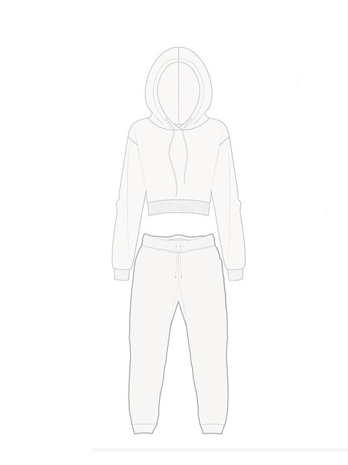Cropped Hoodie and Sweat-pant set