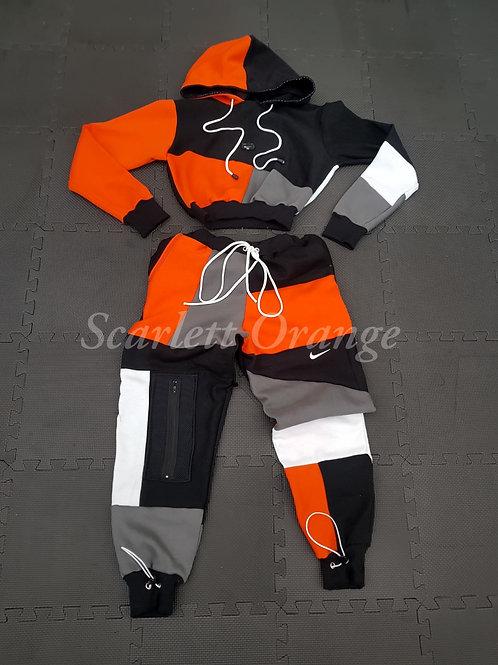 Reworked Orange, Black and Grey  Nike Hoodie set -Made to order