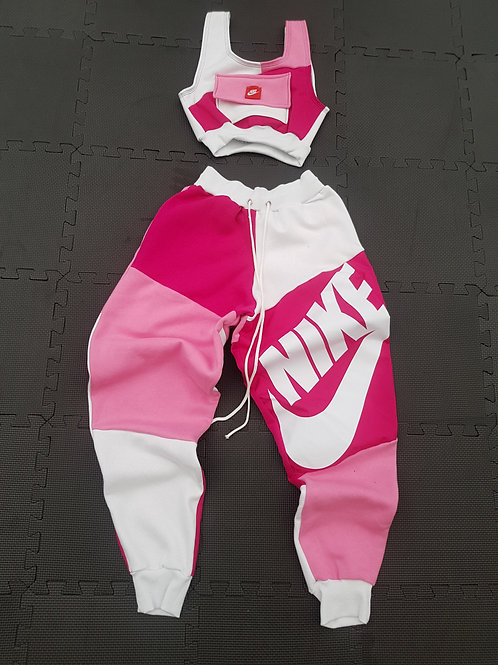 Reworked Nike Pink and White Jogger set