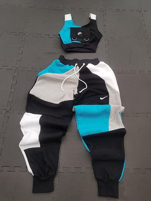 Reworked Nike B-G-B-W mix Jogger set