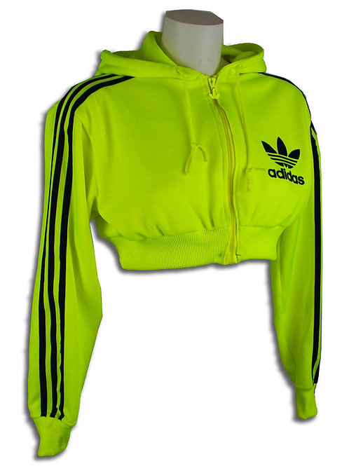 Adidas RARE Neon Yellow cropped hoodie
