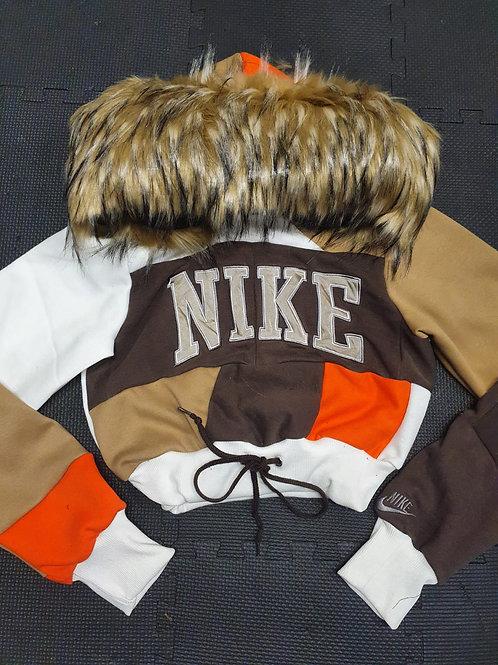 Reworked Nike Brown fur Hoodie