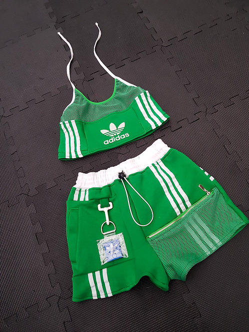 Reworked Adidas green 2 piece