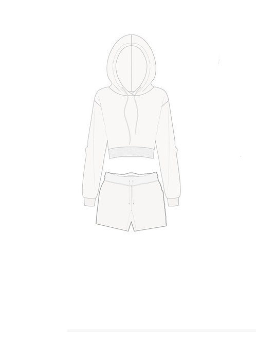 Cropped hoodie and shorts