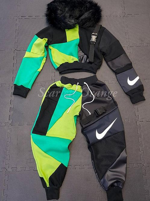 Reworked Nike Green and Black fur hoodie set