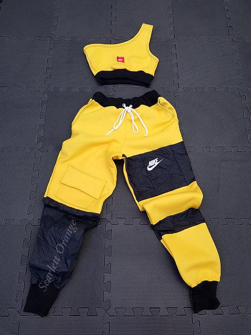 Reworked Yellow & Black Nike 2 piece